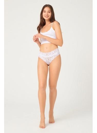 Cottonhill Vişne Transparan Dantelli Lastik Detaylı Kadın Hipster Külot Beyaz